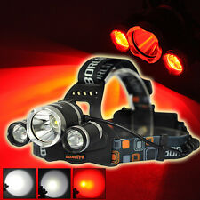 BORUIT 9000LM Headlamp 3x XM-L T6 White+2R5 Red LED 18650 Headlight Head Torches