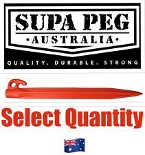 Tent Pegs SUPA PEG Poly Polypropylene Heavy Duty 300mm ORANGE (Price Each)