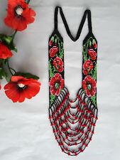 Long BEADED poppy NECKLACE gerdan HANDCRAFTED Jewelry Ukrainian Folk traditional