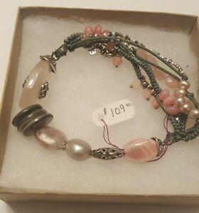 "SILPADA - B2181 - Pearls Quartz Soapstone Shells ""Reef Stretch"" Bracelet - RET"