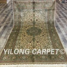 Yilong 5'x8' Traditional Handmade Silk Carpet Hand knotted Heriz Area Rug L145A