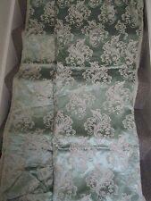 Vintage 1950`s 60`s  fabric curtains pale sage green cream floral design