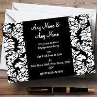 Floral Black White Damask Engagement Party Personalised Invitations