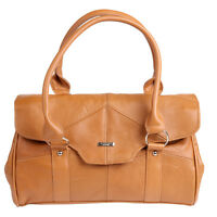 New Ladies Leather Shoulder Bag/Handbag with Folder Over Flap and Magnetic Clasp