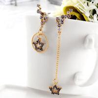 Korean Women Asymmetric Crystal Rhinestone Star Long Tassel Drop Dangle Earrings