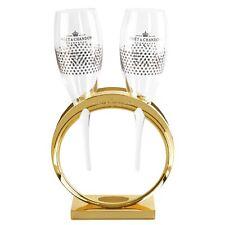Moet & Chandon Hochzeit Wedding 2 Champagner Gläser Flöte Flute in goldenem Ring