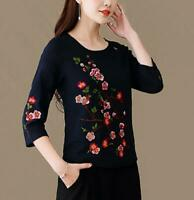 Womens Floral Cotton Linen T-shirt Seven Sleeve Chinese Embroidery Crew Neck Top
