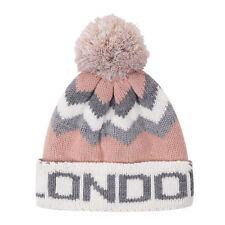 dc8ee827d6fe1f British Big City London Pink Grey Bobble Beanie Winter Warm Hat