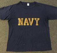 Vtg 80s US Navy Distressed Shirt L Single Stitch Military Faded Soft Kanye Army