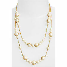 NWT Kate Spade NY PEARL NECKLACE PURELY PEARL $148 Double Strand 12k Crystals