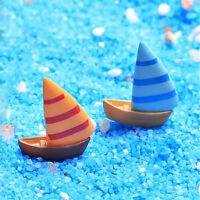 2pcs Miniature Boat Beach Micro Landscape Fairy Crafts Resin Garden Decor