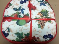 """Set Of 4 Kitchen Chair Pads Cushions w/strings, Fruits, 15"""" x 15"""""""