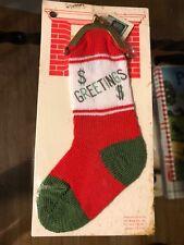 Vintage Nip Christmas Small Mini Cotton Stocking Coin Change Purse Ornament