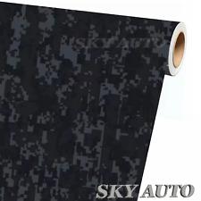 Digital Black Camouflage Vinyl Car Wrap Film Sheet Free Tools 2 Feet Amp Up