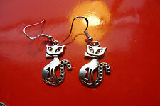 Pretty Kitty Cat in Bow Earrings on .925 Sterling Silver French Hooks.