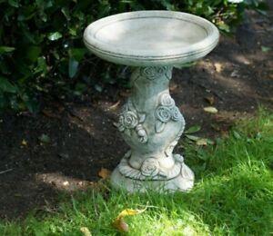 ROSE BIRD BATH FEEDER Highly Detailed Bird Table Stone Garden Ornament Decor