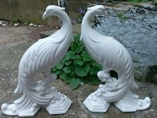 More details for pair vintage pereiras portugal white ceramic 25cm peacocks