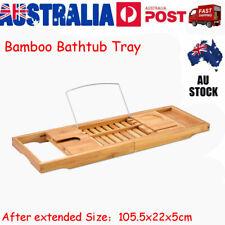 Extendable Bathroom Bamboo Bath Caddy Wine Glass Book Holder Tray Over Bath Tub