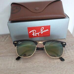 Ray Ban Sonnenbrille Clubmaster - Kultbrille RB3016 W0365 / SCHWARZ GOLD  51-21