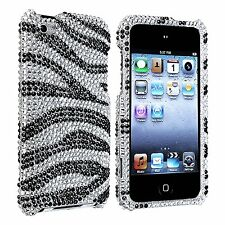Apple ipod Touch 4g 4th Gen Silver Black Zebra Skin Diamond Hard Case Cover NEW