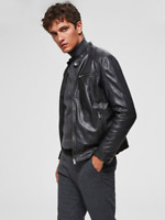 RRP - £270.00 SELECTED HOMME LAMB - LEATHER JACKET, BLACK, SIZE M