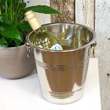 Vintage Stainless Steel Champagne Wine Bottle Cooler Ice Chiller Bucket Holder