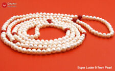 Long 60'' Round White Natural Pearl Necklace Women Red Coral Necklace Jewelry