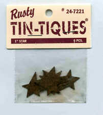 """4 Packages PRIM RUSTY TIN 1"""" STARS - 6 Rusty Tin Stars in each package - Crafts"""