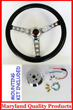60-69 Chevrolet Chevy Pick Up GT Black Steering Wheel Black/Red Bowtie 14 1/2""