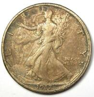 1917-S Walking Liberty Half Dollar 50C Coin with Obverse Mintmark - VF Details