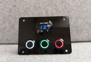 LED Halo Non Latching Switch Control Panel USB 12V Meter VW Campervan M