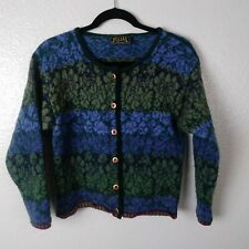 OLEANA Norwegian Story Womens Wool Floral Cardigan with Velvet Trim. Size Small