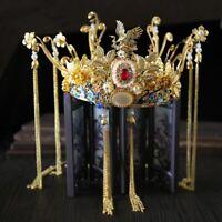 New Chinese Bridal Jewelry Sets Gold Phoenix Tiaras Crown Headpiece Wedding Hair