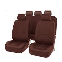 9PCS Brown Van Front Car Seat Cover Faux Leather Mat Pad Universial Cushion