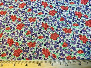 Vintage Cotton Feedsack Fabric 30s SWEET Lil Purple Red Green Floral EXC