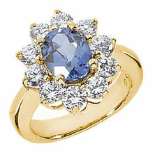 3 carat Oval SAPPHIRE & 1.5 ct round Diamonds Engagement 14k Yellow Gold Ring