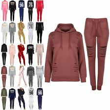 Womens Ladies Destroyed Ripped Lazer Cut Out Hooded Hoody Joggers Tracksuit Set