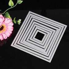 8Pcs Square Metal Cutting Dies Stencils Set DIY Scrapbook Album Paper Card Decor