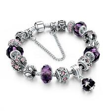 925 Silver Plated  Crystal European Charm Beads Bracelet Ladies Bangle Cuff