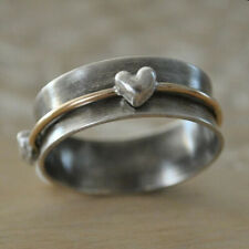 Heart Shape Spinner Ring Solid 925 Sterling Silver Handmade Ring All Size MM-22