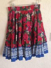 square Up Line Dance skirt Circle Lace Floral White Blue Pink Medium 100% Cotton