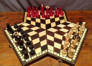 1996 Jerzy Luberda Wooden Three-Player Chess Set