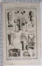 1788 ORIGINAL PRINT CHEMISTRY VARIOUS EXPERIMENT EQUIPMENT SMELTING FURNACE
