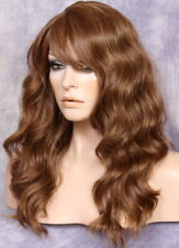 HUMAN HAIR Blend Wig Wavy Auburn Blonde mix Heat Safe Bangs WBMR 30/27