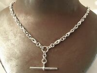 GENUINE SOLID 925 STERLING SILVER ALBERT CHAIN FOB NECKLACE WITH T-BAR