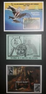 Turks and caicos islands 3 mini sheets cancelled first day of issue 1984. Fine