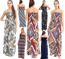 New Women's Printed Sheering Boob Tube Bandeau Floral Long Maxi Size UK 8-26