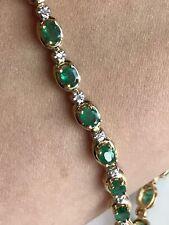 14k Solid Yellow Gold Genuine  Emerald & Diamond Women's Tennis Bracelet