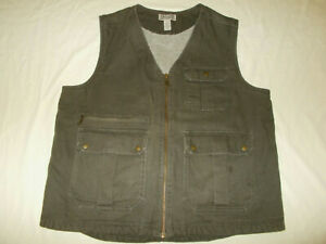 DULUTH  FULL ZIP BROWN SHERPA LINED CANVAS VEST MENS XL NICE CONDITION