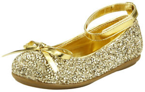 Flower Girl's Sparkly Gold or Silver Party Dress Shoes Toddler Little kid